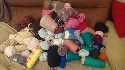 Job Lot of Wool / Yarn Bundle approx 90 Balls Various Colours Knitting Crochet