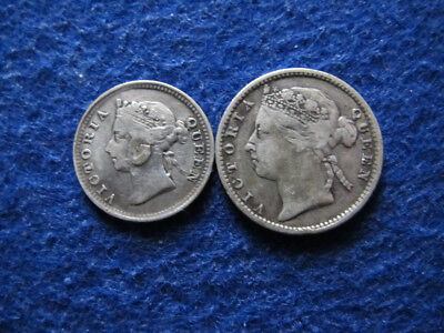 1887 Straits Settlements Silver 5 Cents & 10 Cents - Nice  - Free U S Shipping