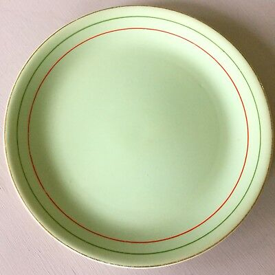 Vintage Art Deco Alfred Meakin Celadon Green Plate; Red, Green, Gold Lines