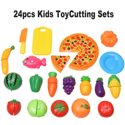 24pcs Kids Toy Pretend Role Play Kitchen Fruit Vegetable Cake Food Cutting Set