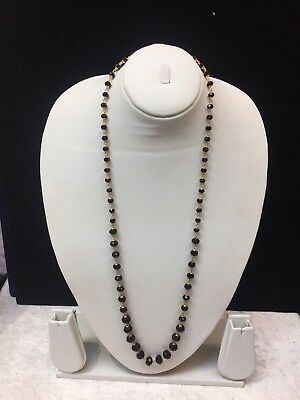 indian bollywood Gold Plated Long Necklace Chain Black Beaded Moti New Uk Seller