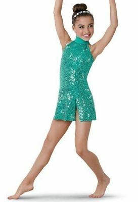 WEISSMAN DANCE COSTUME DRESS teal halter sequins jazz ballet sa small adult
