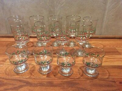 Set  Of 13 Christmas Arby's Sherbet Glasses And Stemmed Wine Holly Berries