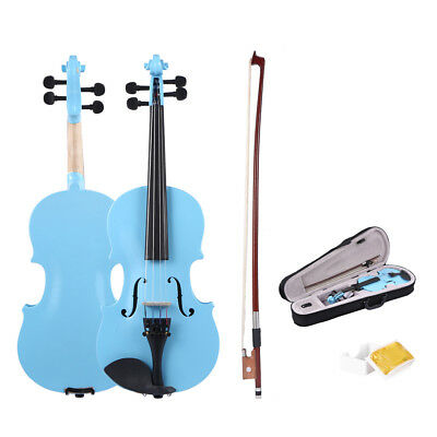 Handmade Wooden 1/8 Size Natural Acoustic Violin Fiddle with Case Bow Rosin
