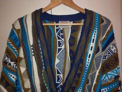 VINTAGE 1980s AKLANDA CLASSIC TEXTURED WOOL CARDIGAN SIZE L EXCELLENT CONDITION