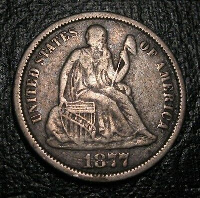 Old Us Coins Silver 1877 Cc Seated Liberty Carson City Dime  Beauty