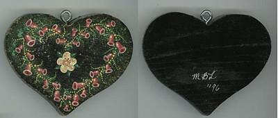 Folk Art Naive Pink Bell Flowers Heart Wood Hand Painting Ooak Ornament