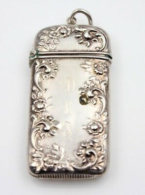 "Sterling Silver Match Safe Vesta Case Floral Themed 2.75"" Monogrammed- Nr #4111"