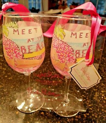 1fd40f68005188 New/tags Lilly Pulitzer Set Of 2 Acrylic Wine Glasses In Meet Me At The