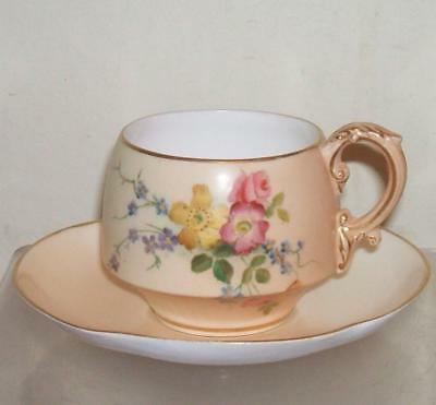 ROYAL WORCESTER c.1902 BLUSH WARE HAND PAINTED FLOWERS CUP AND SAUCER