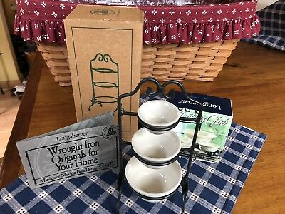 NEW Longaberger Miniature Wrought Iron 3 Mixing Bowl Stand with 3 Pottery Bowls