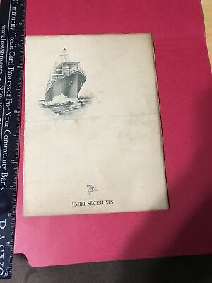 BT193 Rare 1926 United States Lines SS Roosevelt Ship Mr Knox Menu