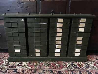 Antique Metal Filing Cabinet / Industrial Storage Unit Drawers / Green / Large