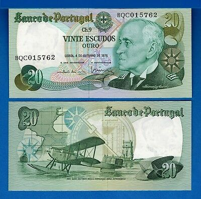 Portugal P-176b  20 Escudos Year 4.10.1978 Uncirculated Banknote