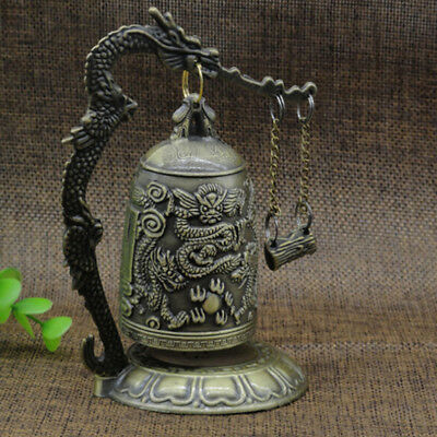 Vintage Carved Dragon Bell Statue Ornaments Exquisite Metal Crafts Home Decor ST
