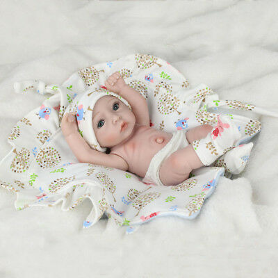 28cm Lovely Reborn Baby Boy Doll w/ Floral Quilt Accs Kids Sleeping Playmate