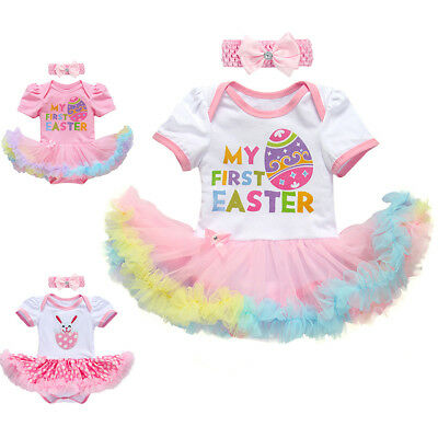 0082a6bf68d2 Baby Girl My 1st First Easter Bunny Egg Romper Tutu Dress Costume Outfit  Clothes