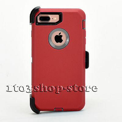 iPhone 7 Plus iPhone 8 Plus Hard Case w/Belt Clip Fit Otterbox Defender Red Gray