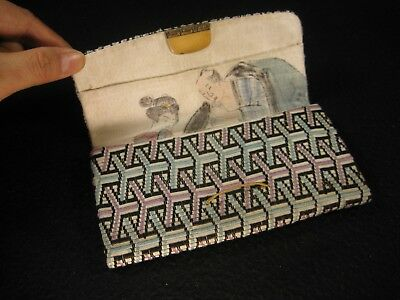 Antique  Japanese Hand Painted Shunga Erotic Silk Brocade  Clutch Purse