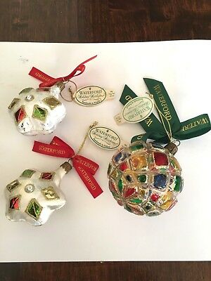 Waterford Christmas Ornaments.3 Waterford Christmas Ornaments Holiday Heirloom Lot Of Three