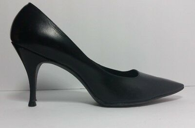 Vintage Black 1950S 60S Womens Heels Pumps Leather Sz 8
