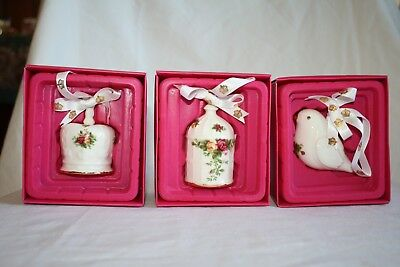 Royal Albert Old Country Roses Ornaments : DOVE, CROWN, ROBIN New in Box!