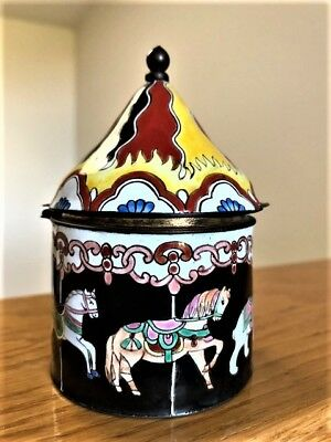 Vintage Carousel / Merry-go-Round Hinged Trinket Box ~ Porcelain with Brass Trim