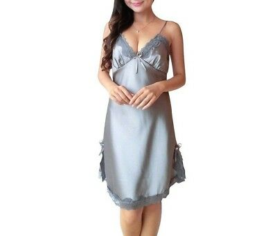 Ex Store Grey Soft Modal Jersey Chemise Nightdress Lace Effect Trims