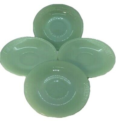 Fire King Oven Ware Jadeite 4 Plates Saucers Jane Ray