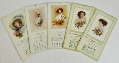 Lot 5 Antique Zula Kenyon Edwardian Ladies Advertising Calendar Cards 1909-1914