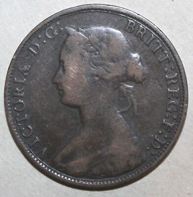 British Half Penny Coin, 1862 - KM# 748 - Great Britain Queen Victoria - UK 1/2