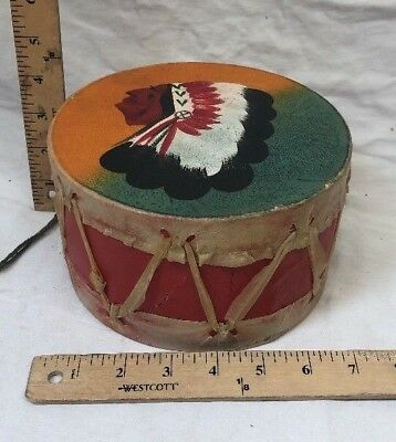 """Vintage 7"""" Hand painted Authentic Indian Childs Drum Handmade"""