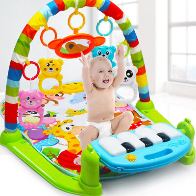 4 in 1 Baby Gym Floor Play Mat Blanket Pedal Piano Musical Kick Play Toy Healthy
