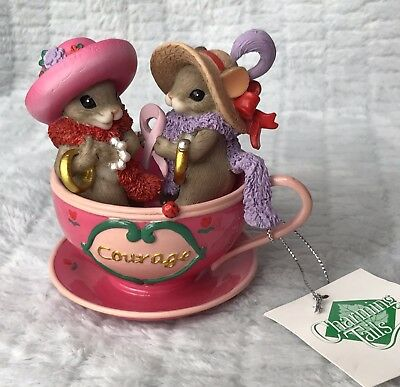 "Charming Tails Teacups Of Hope Blossoms Of Courage New With Tag 4"" Figurine"