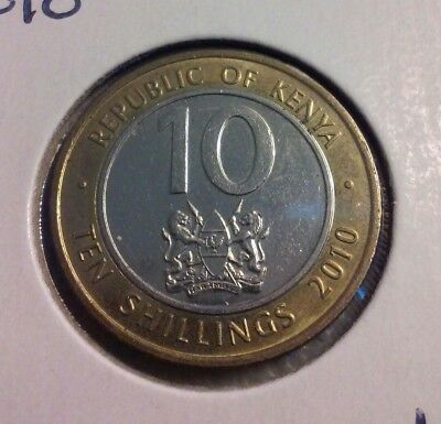 2010 KENYA 10 SHILLINGS Coin - (#IN2327)
