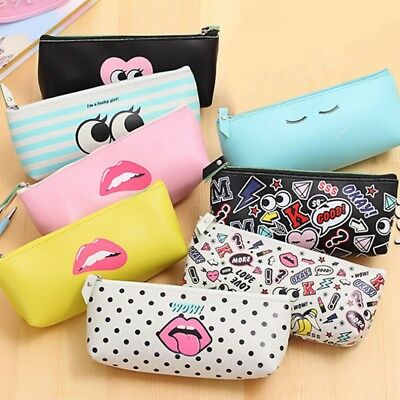 Girls Stylish Red Lips Fashion Pencil Cases Cosmetics Makeup Pouch Pen Bags