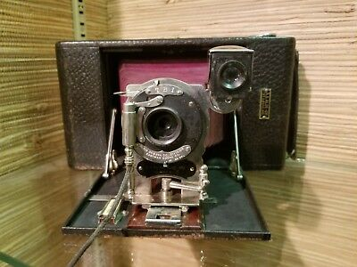 Antique Kodak No.3A Folding Hawkeye Model 3 with Red Bellows vintage C4 as is