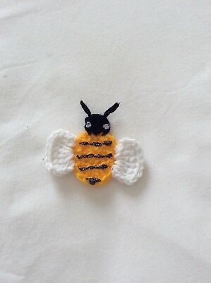 7cm CROCHET BUMBLE BEE APPLIQUE EMBELLISHMENT  - made in Aust.