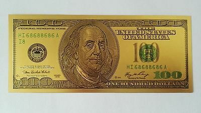 24K GOLD Plated Foil Dollar Bill Collectible Novelty Collection Note Gift