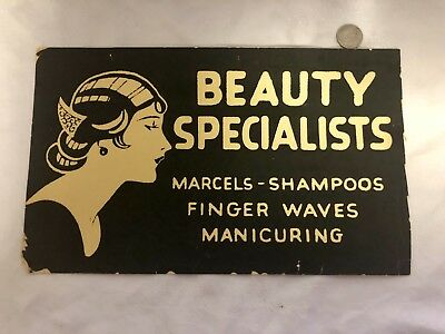 "Antique Art Deco Advertising Sign ""BEAUTY SPECIALISTS"" 13.25""x 8"""