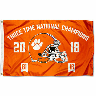 Clemson Tigers Three Time College Football National Champions Flag Large 3x5