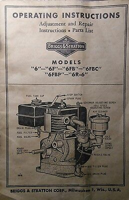 "Briggs & Stratton  model ""6"" Engine Owner, Parts, Service Repair Manual 32pg Gas"
