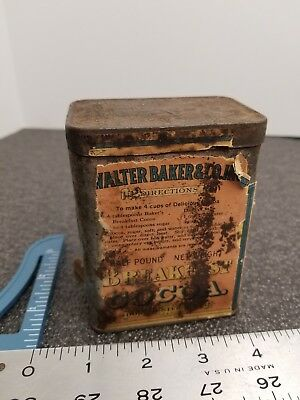Antique Walter Baker & Co Breakfast Cocoa Vintage Tin Advertising Cooking