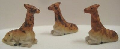 3 Old Bisque Miniature Lying Camels - Camel Herd for Zoo or Wildlife Scene