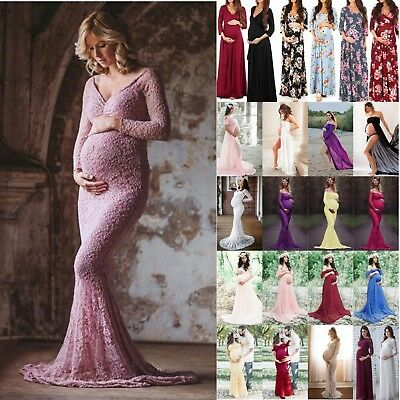 AU Maternity Women Lace Maxi Gown Pregnant Dress Photography Props Clothes 8-20