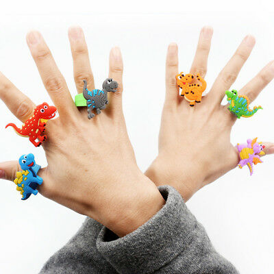 2/10Pcs Cartoon Rubber Dinosaur Soft Finger Ring Party Favors Kids Gift Random