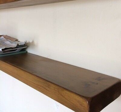 "7"" X 2"" Thick Rustic Floating Wooden Shelf Solid Chunky Wood 60cm long"