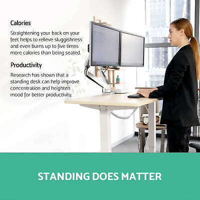 **Artiss Height Adjustable Standing Desk Frame Motorised Electric Table Office 6