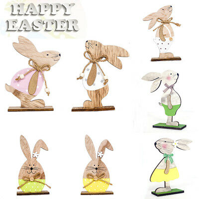 1 x Easter Rabbit Shape Wooden Craft Wood Easter Ornaments Party Supplies