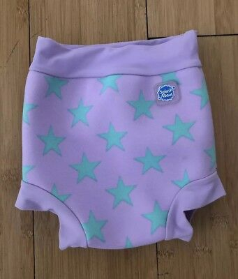 Swimming Happy Nappy, Splash About Size Large UPF 50+ Purple With Green Stars